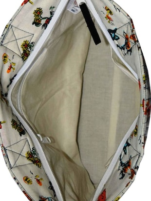 Multi fabric printed handbag - 10643033 - Standard Image - 3