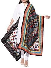 Black Hand Embroidered Phulkari Georgette Dupatta - By