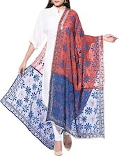 Blue And Brick Red Hand Embroidered Phulkari Georgette Dupatta - By
