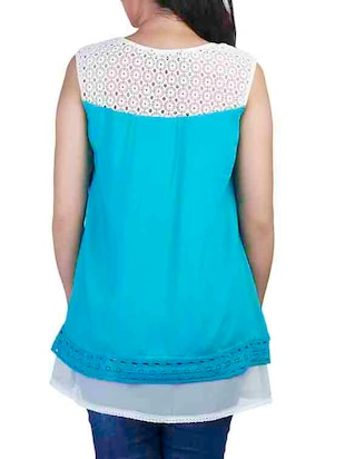 Lace panel yoke top - 10656337 - Standard Image - 3