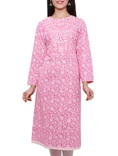 Baby Pink Cotton  Kurta - By