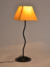 Yellow Metallic Table Lamp With Square Fabric Shade - By