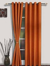 Home Fantasy Orange Plain Long Door Curtain Set Of 2 - By