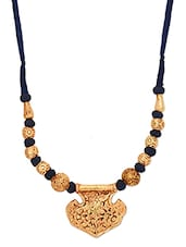 Gold And Blue Handcrafted Geru Engraved Necklace - By
