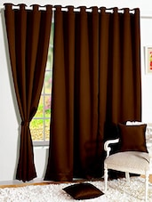 Story @ Home Brown Faux Silk Window Curtains - By