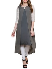 Grey Summer Crepe, Georgette Kurta - By