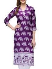 Purple Rayon Regular Kurta - By