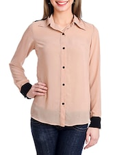 Beige And Black Button Down Shirt - By