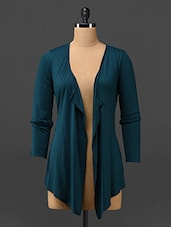 Teal Green Hi-low Viscose Shrug -  online shopping for Shrugs