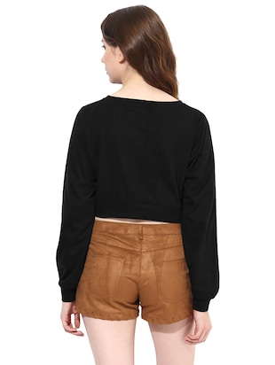 long sleeved boat neck crop top - 11013031 - Standard Image - 3