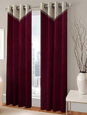 BSB TRENDZ EYELET MAROON DOOR CURTAIN SET OF 2 P-150 - By