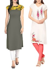 multi colored crepe kurti -  online shopping for kurtis