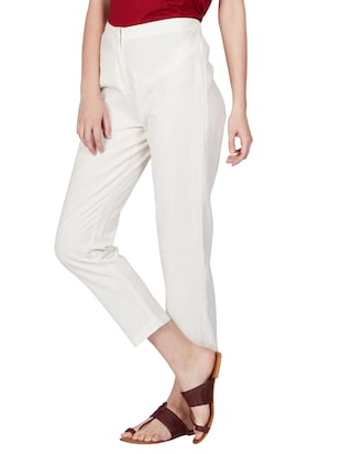 off white cotton peg  trousers - 11090006 - Standard Image - 3