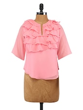Pink Ruffled Polyester Top - By