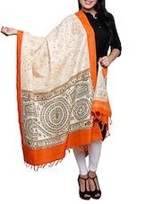 Orange Border Block Print Khadi Cotton Dupatta - By
