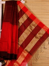 Red cotton silk handloom saree -  online shopping for Sarees