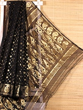Black floral cotton silk saree -  online shopping for Sarees