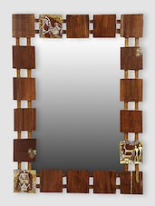 ExclusiveLane Wooden Handcrafted Warli Wall Mirror - By