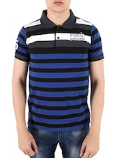 dark blue striped cotton t-shirt -  online shopping for T-Shirts