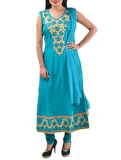 Green Cotton Semi-stitched Dress Material - By