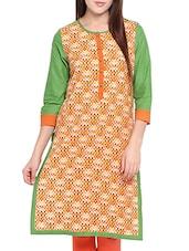 Orange And Green Printed Cotton Kurta - By