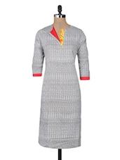 Grey Cotton Printed Three Quarter Sleeved Long Kurta - By