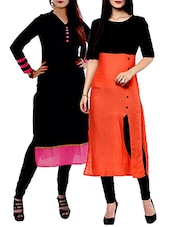 Set Of 2 Multi Color Cotton Kurta - By