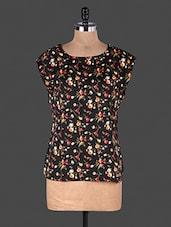 Multicolour Floral Printed Sleeveless Polyester Blouse - By