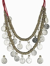 Dual Strand Gold Coin Necklace And Earrings Set - By