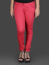 Strawberry Red Stretchable Skinny Fit Trousers - By