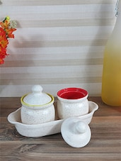 Red And Yellow Pickle Jar  Set Of 2 With Tray - By
