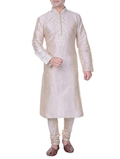 cream embroidered silk blend kurta -  online shopping for Kurtas
