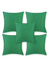 Green Cotton Set Of 5 Cushion Cover - By