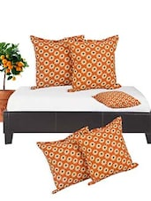 Orange Cotton Set Of 5 Cushion Cover - By