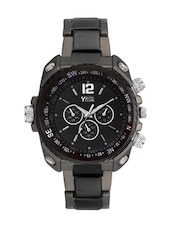 black color, leatherette stainless steel watch -  online shopping for Men Analog Watches