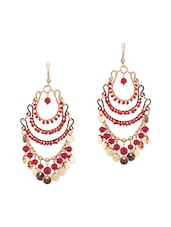 Gold And Red Metal Drop Earring - By