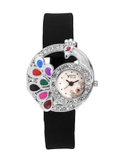black color, leatherette analog watch with embellishment -  online shopping for Analog watches