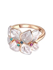 Rose Gold And White Metal Flower Ring - By