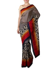 Navy Blue Printed Bhagalpuri Silk Saree - By