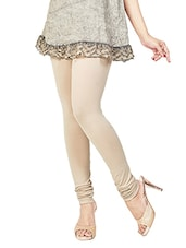 beige colored, cotton legging -  online shopping for Leggings