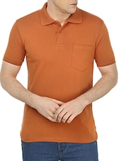 orange cotton blend tshirt -  online shopping for T-Shirts