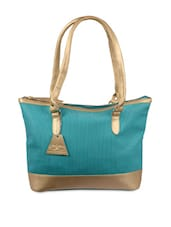 Turquoise And Gold Tote Handbag - By