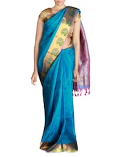 Blue Silk Brocade Saree With Blouse Piece - By