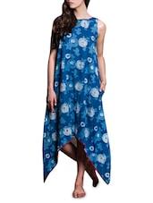 Indigo Floral Print Cotton Asymmetrical Dress - By