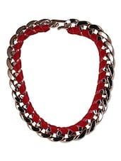 Red Velvet Taped Plastic Necklace - By