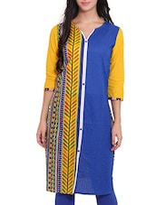 Blue And Yellow Printed Cotton Kurta - By