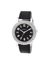 black leather analog wrist watch -  online shopping for Analog watches
