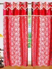 Dekor World Ombre Damask Curtain-Set Of 2 - By