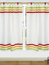 Set Of 2 Cotton Multi Stripe Curtain - By