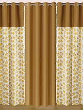 Set Of 3 Cotton Floral Printed Curtain - By